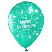 10 Ballons Joyeux Anniversaire Annikids - Vert menthe