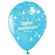 10 Ballons Joyeux Anniversaire Annikids - Bleu ciel