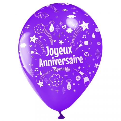 10 Ballons Joyeux Anniversaire Annikids - Violet pour l'anniversaire de votre enfant - Annikids