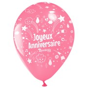 10 Ballons Joyeux Anniversaire Annikids - Rose