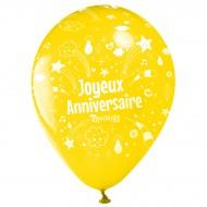 10 Ballons Joyeux Anniversaire Annikids - Jaune
