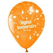 10 Ballons Joyeux Anniversaire Annikids - Orange