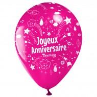 10 Ballons Joyeux Anniversaire Annikids - Rose Fuchsia