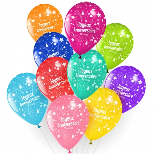 10 Ballons Joyeux Anniversaire Annikids Assortiment