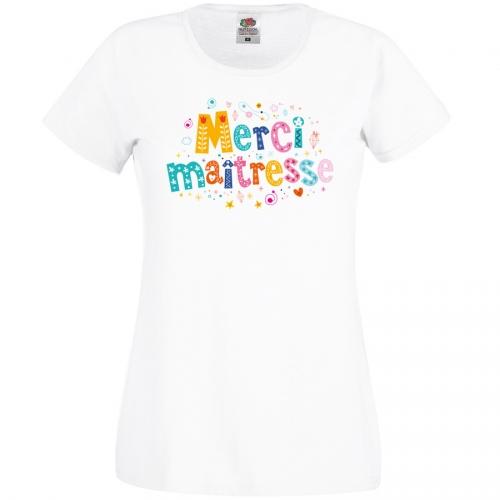 T-shirt Merci Maîtresse Blanc