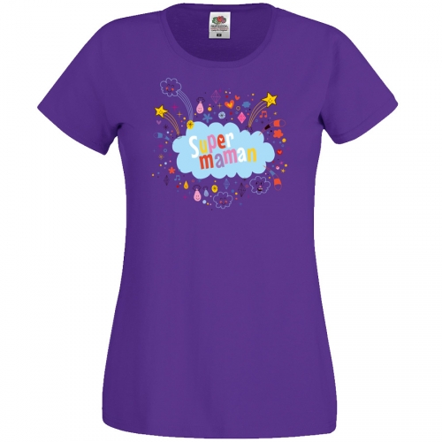 T-shirt Super Maman Nuage - Pourpre