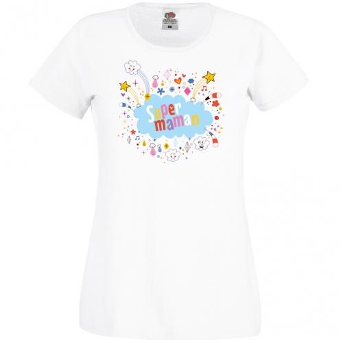 T-shirt Super Maman Nuage - Blanc