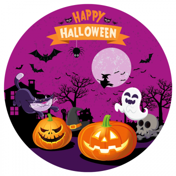 Disque en sucre Happy Halloween (19 cm)