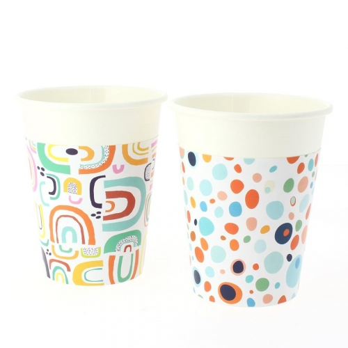 6 Gobelets Rainbow Dots - Compostable
