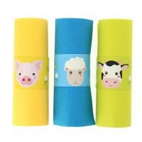 Contient : 1 x 6 Ronds de serviettes Animaux de la Ferme - Recyclable