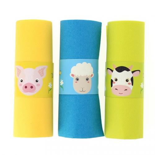 6 Ronds de serviettes Animaux de la Ferme - Recyclable