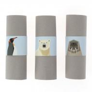 6 Ronds de serviettes Animaux Polaires - Recyclable