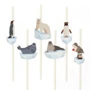 6 Pailles en papier Animaux Polaires - Recyclable