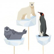 Cake Toppers Animaux Polaires - Recyclable