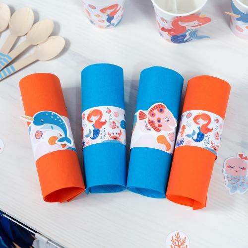 6 Ronds de serviettes Sirène Corail - Recyclable