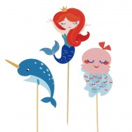 Cake Toppers Sirène Corail - Recyclable