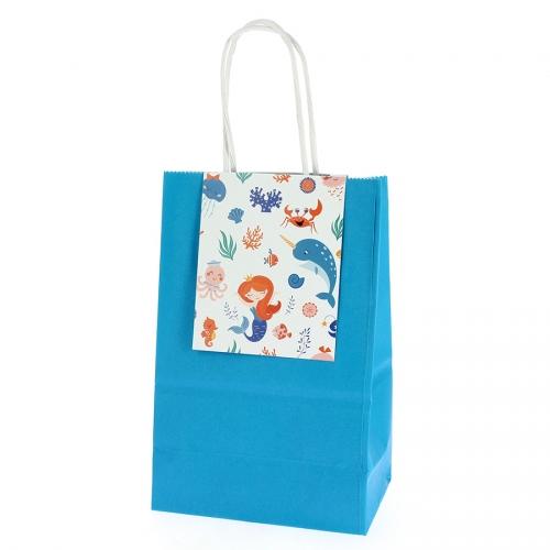 6 Sacs Cadeaux Sirène Corail - Recyclable