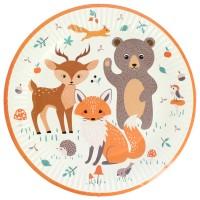 Contient : 1 x 6 Assiettes Animaux de la Forêt - Recyclable