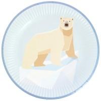 Contient : 1 x 6 Assiettes Animaux Polaires - Recyclable