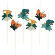 6 Pailles en papier Dinosaures - Recyclable