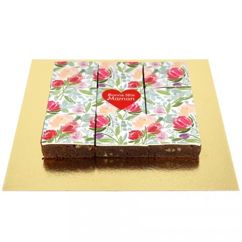 Brownies Fleurs Coeur rouge - Personnalisable