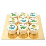 9 Cupcakes Dino Colors - Pépites de Chocolat