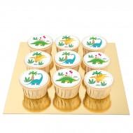 9 Cupcakes Dino Colors