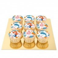 9 Cupcakes Sirène Corail
