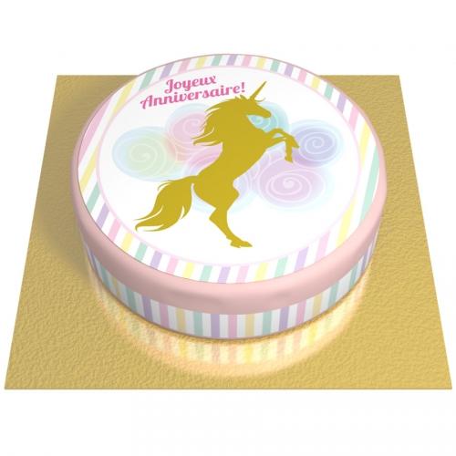 Gâteau Licorne Or - Ø 20 cm