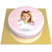 Gâteau Licorne Etoile Personnalisable - Ø 20 cm Fraise