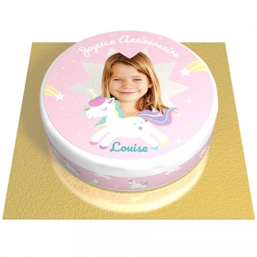 Gâteau Licorne Etoile Personnalisable - Ø 20 cm