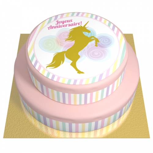 Gâteau Licorne Or - 2 étages