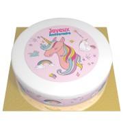 Gâteau Licorne Rainbow - Ø 26 cm Fraise