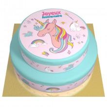 Gâteau Licorne Rainbow bleu - 2 étages