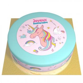 Gâteau Licorne Rainbow bleu - Ø 26 cm