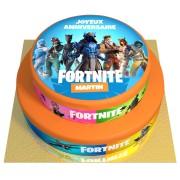 Gâteau Fortnite Personnalisable - 2 étages Fraise