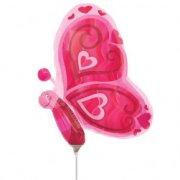 Ballon sur tige Papillon rose