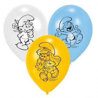 6 Ballons Les Schtroumpfs