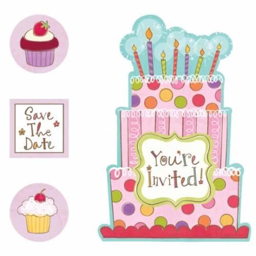 20 Invitations et Stickers Sweet Cake