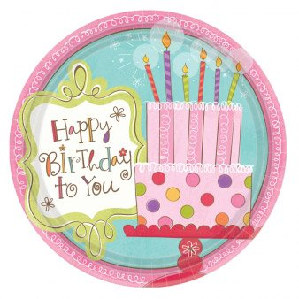 8 Assiettes rondes Sweet Birthday