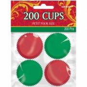 200 Mini Caissettes Papier Rouge et Vert