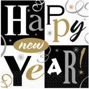 16 Serviettes Cocktail Happy New year