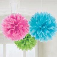 3 Boules Papier fleurs 3 couleurs