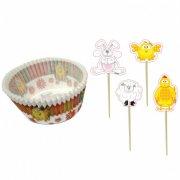 Kit 24 Caissettes et Déco à Cupcakes de Pâques