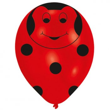 6 Ballons Figurine Coccinelle