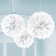 3 Boules Papier fleur Blanc