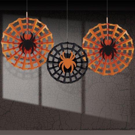 3 Eventails Déco Halloween Araignée