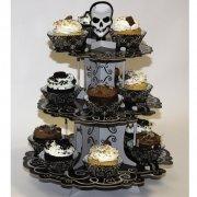 Pr�sentoir � Cupcakes T�te de Mort Baroque