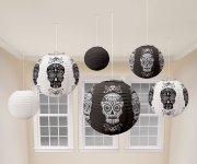 6 Lanternes Halloween Papier Blanc/Noir