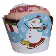 12 Wrappers � Cupcakes Joyeux Bonhomme de Neige
